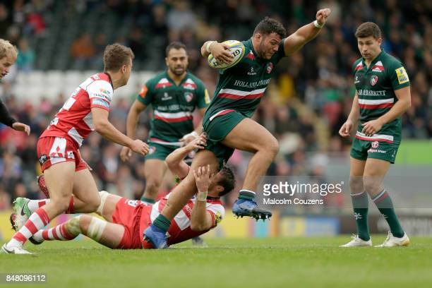 Ellis Genge of Leicester Tigers runs with the ball during the Aviva Premiership match between Leicester Tigers and Gloucester Rugby at Welford Road...