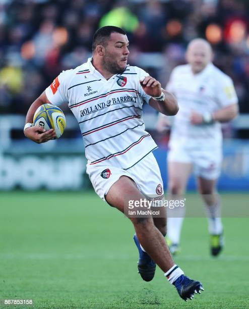 Ellis Genge of Leicester Tigers runs with the ball during the Aviva Premiership match between Newcastle Falcons and Leicester Tigers at Kingston Park...