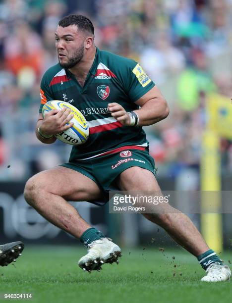 Ellis Genge of Leicester Tigers runs with the ball during the Aviva Premiership match between Leicester Tigers and Northampton Saints at Welford Road...