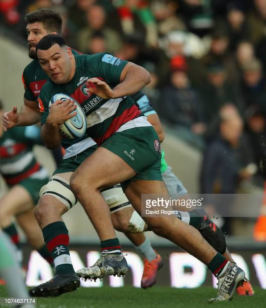 Ellis Genge of Leicester Tigers runs with the ball during the Gallagher Premiership Rugby match between Leicester Tigers and Harlequins at Welford...