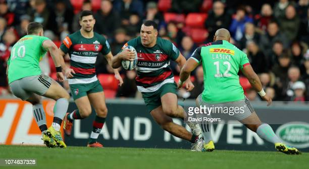 Ellis Genge of Leicester Tigers takes on James Lang and Paul Lasike during the Gallagher Premiership Rugby match between Leicester Tigers and...