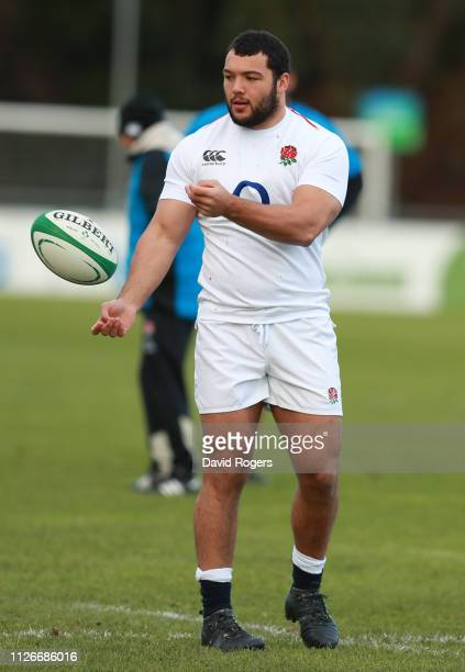 Ellis Genge passes the ball during the England captain's run at UCD Sports Complex on February 01 2019 in Dublin Ireland
