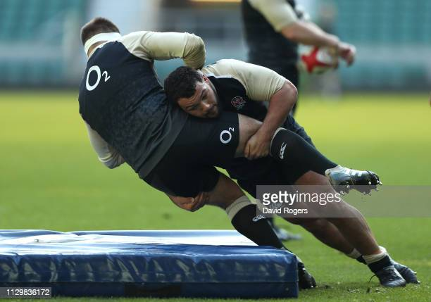 Ellis Genge tackles Ben Moon during the England training session held at Twickenham Stadium on February 15 2019 in London England