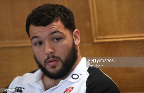 Ellis Genge the England prop faces the media during the England media session held at Pennyhill Park on February 18 2019 in Bagshot England