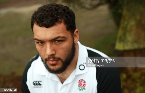 Ellis Genge the England prop poses during the England media session held at Pennyhill Park on February 18 2019 in Bagshot England