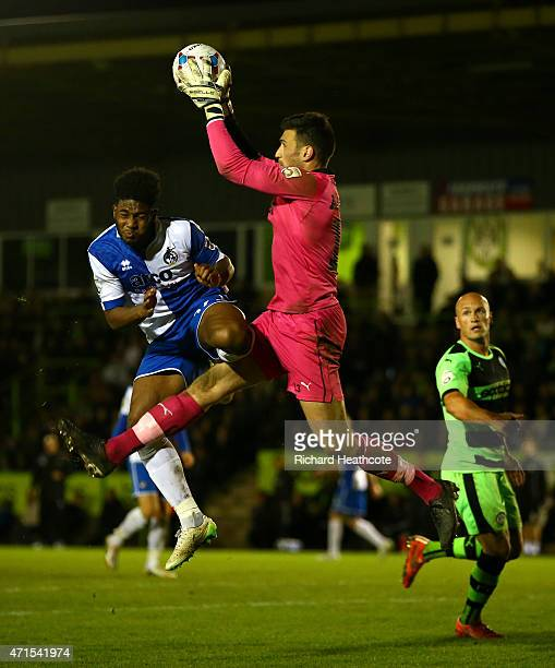 Ellis Harrison of Bristol puts in a high challenge on Forest Green goalkeeper Steve Arnold and is sent off for a second yellow card during the first...