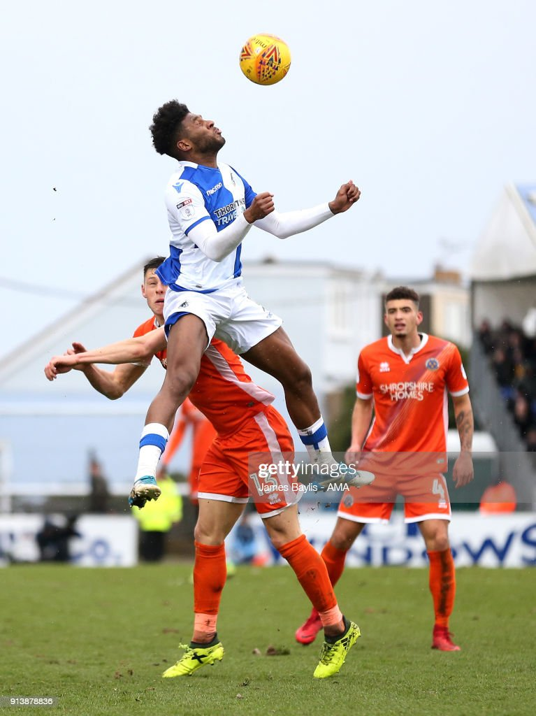Ellis Harrison of Bristol Rovers and James Bolton of Shrewsbury Town during the Sky Bet League One match between Bristol Rovers and Shrewsbury Town at Memorial Stadium on February 3, 2018 in Bristol, England.