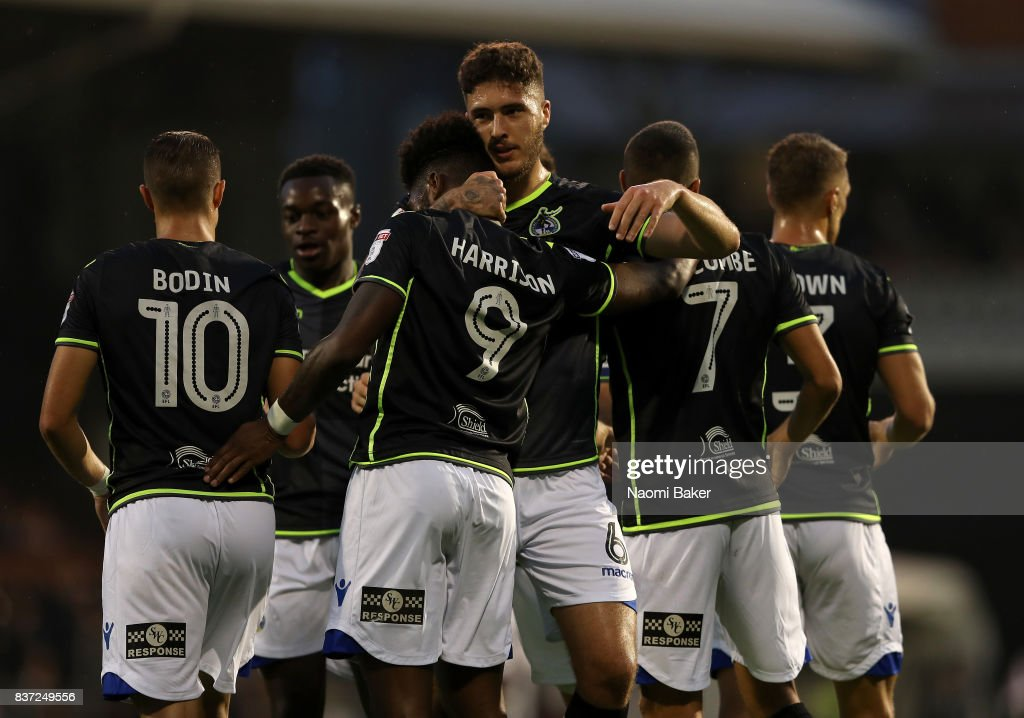 Ellis Harrison of Bristol Rovers celebrates scoring the opening goal during the Carabao Cup Second Round match between Fulham and Bristol Rovers at Craven Cottage on August 22, 2017 in London, England.