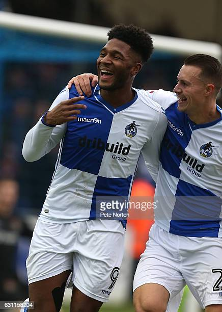 Ellis Harrison of Bristol Rovers celebrates with team mate Billy Bodin after scoring his third and his sides fourth goal during the Sky Bet League...