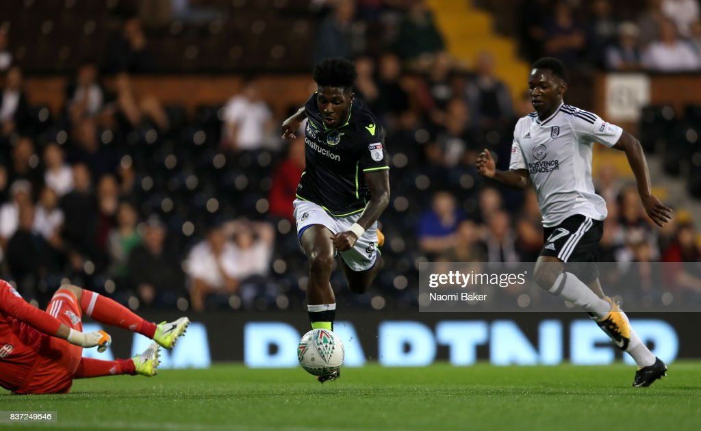 Ellis Harrison of Bristol Rovers goes around the keeper to score the opening goal during the Carabao Cup Second Round match between Fulham and Bristol Rovers at Craven Cottage on August 22, 2017 in London, England.