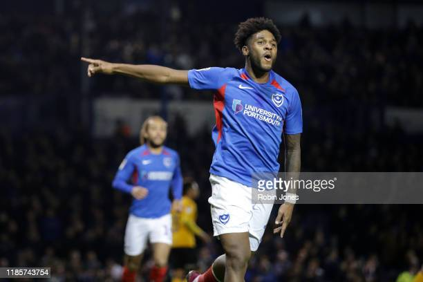 Ellis Harrison of Portsmouth FC celebrates after he scores from the spot to make it 3-0 during the Sky Bet Leauge One match between Portsmouth and...