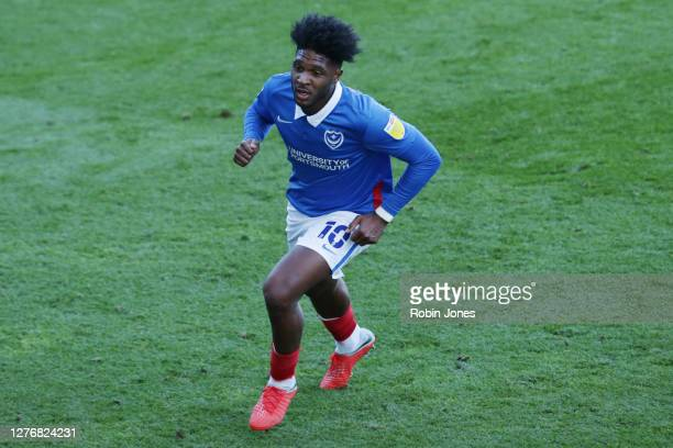 Ellis Harrison of Portsmouth FC during the Sky Bet League One match between Portsmouth and Wigan Athletic at Fratton Park on September 26, 2020 in...