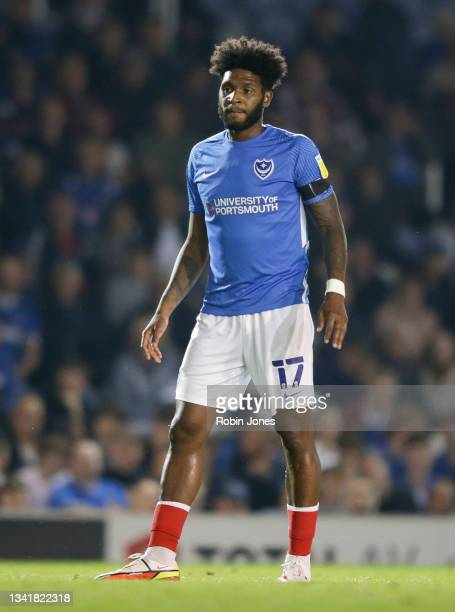 Ellis Harrison of Portsmouth FC during the Sky Bet League One match between Portsmouth and Plymouth Argyle at Fratton Park on September 21, 2021 in...