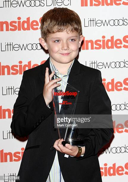 Ellis Hollins With The Best Young Actor Award At The 2008 Inside Soap Awards At Gilgemesh The Stables Chalk Farm Road Camden Nw1