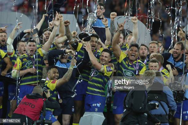 Ellis Jenkins of Cardiff Blues lifts the trophy after winning the European Rugby Challenge Cup Final match between Cardiff Blues and Gloucester Rugby...