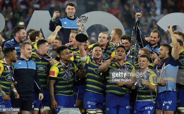 Ellis Jenkins of Cardiff holds the trophy as they celebrate after their victory during the European Rugby Challenge Cup Final match between Cardiff...