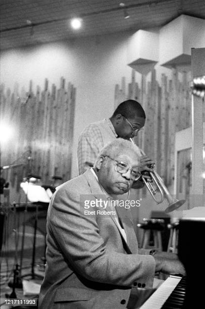 Ellis Marsalis and son Wynton Marsalis at a Jeff Watts recording session at Systems Two Studios in New York City on June 2 1998