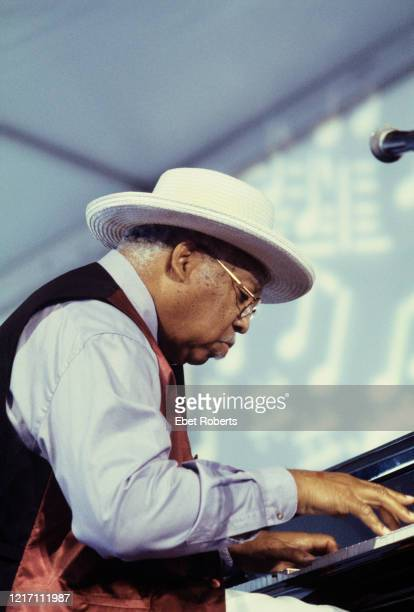 Ellis Marsalis performing at the New Orleans Jazz and Heritage Festival at the Fair Grounds Race Course in New Orleans Louisiana on April 28 2002
