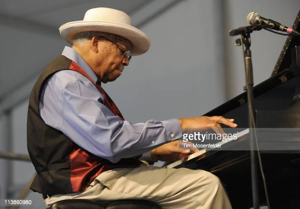 Ellis Marsalis performs as part of the 2011 New Orleans Jazz Heritage Festival at Fair Grounds Race Course on May 8 2011 in New Orleans Louisiana