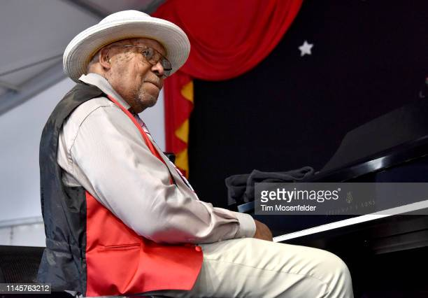 Ellis Marsalis performs during a family tribute at the 2019 New Orleans Jazz Heritage Festival 50th Anniversary at Fair Grounds Race Course on April...