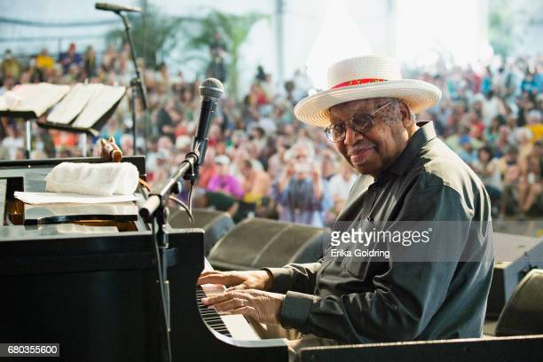 Ellis Marsalis performs during the 2017 New Orleans Jazz Heritage Festival at Fair Grounds Race Course on May 7 2017 in New Orleans Louisiana