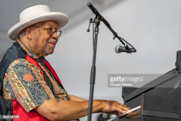 Ellis Marsalis performs during the 2018 New Orleans Jazz Heritage Festival at Fair Grounds Race Course on May 6 2018 in New Orleans Louisiana