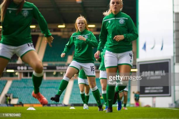 Ellis Notley of Hibernian warms up ahead of the UEFA Women's Champions League round of 32 first leg match between Hibernian FC and SK Slavia Praha at...
