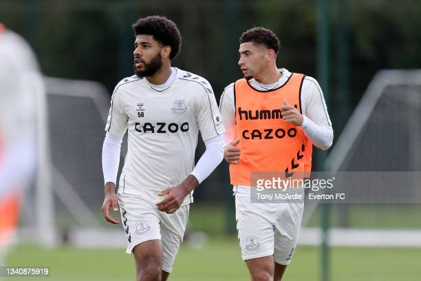 Ellis Simms and Ben Godfrey during the Everton Training Session at USM Finch Farm on September 16 2021 in Halewood, England.