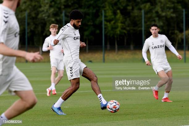 Ellis Simms during the Everton Training Session at USM Finch Farm on September 16 2021 in Halewood, England.