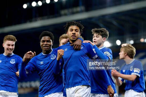 Ellis Simms of Everton celebrates his goal with Korede Adedoyin and Mackenzie Hunt during the FA Youth Cup match between Everton and Brighton Hove...