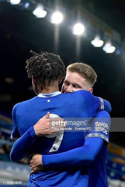 Ellis Simms of Everton celebrates his goal with Michael Collins during the FA Youth Cup match between Everton and Brighton Hove Albion at Goodison...