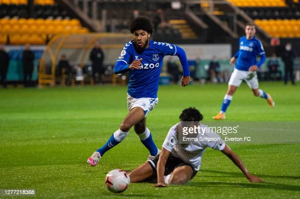 Ellis Simms of Everton chases the ball during the Premier League 2 match between Everton and Derby County at Merseyrail Community Stadium on...