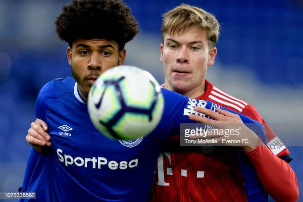 Ellis Simms of Everton during the Premier League International Cup match between Everton U23 and Bayern Munich II at Goodison Park on December 12...