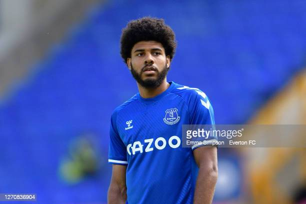 Ellis Simms of Everton during the PreSeason Friendly match between Everton and Preston North End at Goodison Park on September 5 2020 in Liverpool...