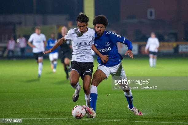 Ellis Simms of Everton fights for the ball during the Premier League 2 match between Everton and Derby County at Merseyrail Community Stadium on...