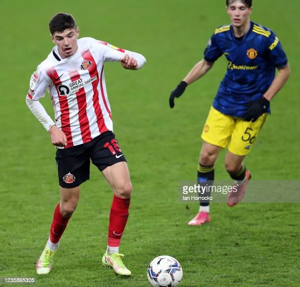 Ellis Taylor of Sunderland during the Papa John's Trophy match between Sunderland and Manchester United at Stadium of Light on October 13, 2021 in...