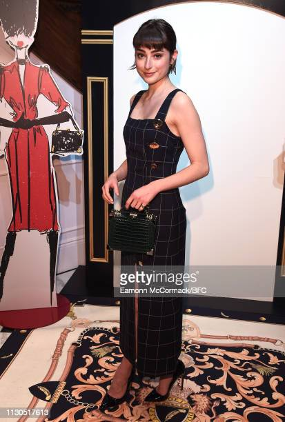Ellise Chappell attends the Aspinal of London AW19 presentation during London Fashion Week February 2019 at the Aspinal Of London on February 18 2019...