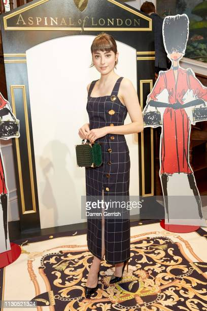 Ellise Chappell wearing the Mini Trunk in Evergreen Croc attends the Aspinal of London AW19 presentation during London Fashion Week February 2019 at...