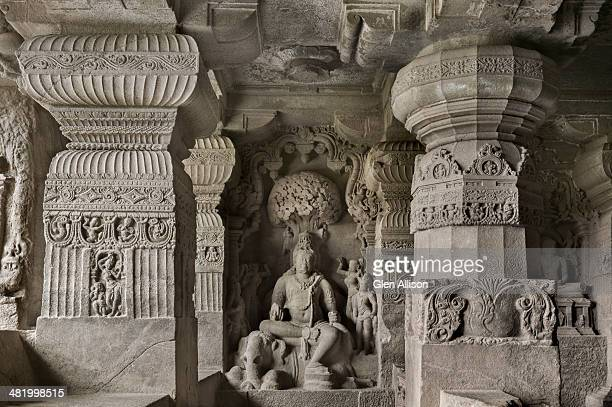 Ellora, Cavea, stone-carved figure and columns