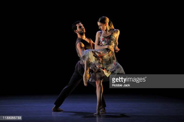 Elly Braund and Nicholas Shikkis in Richard Alston's Brahms Hungarian at Sadlers Wells Theatre on February 27, 2019 in London, England.