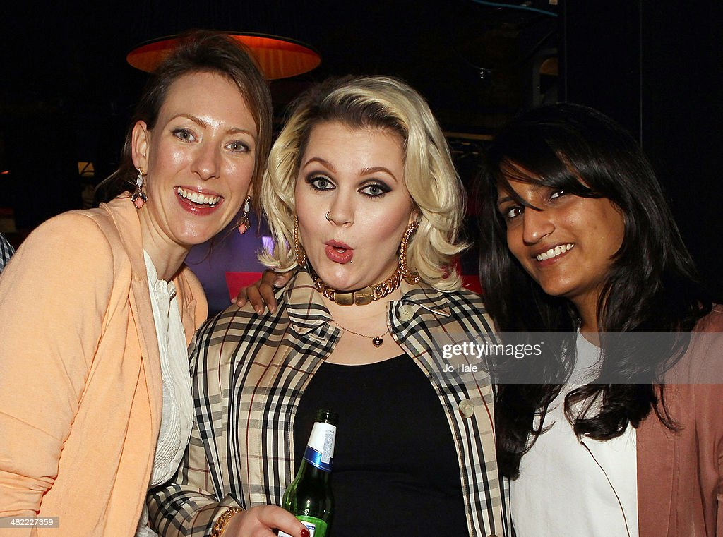 Elly Ingram poses backstage with guests at the Vevo Emerging Artists Showcase for Advertising Week Europe at Ronnie Scotts on April 2, 2014 in London, England.