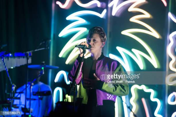 Elly Jackson from La Roux performs at Elysee Montmartre on February 11, 2020 in Paris, France.