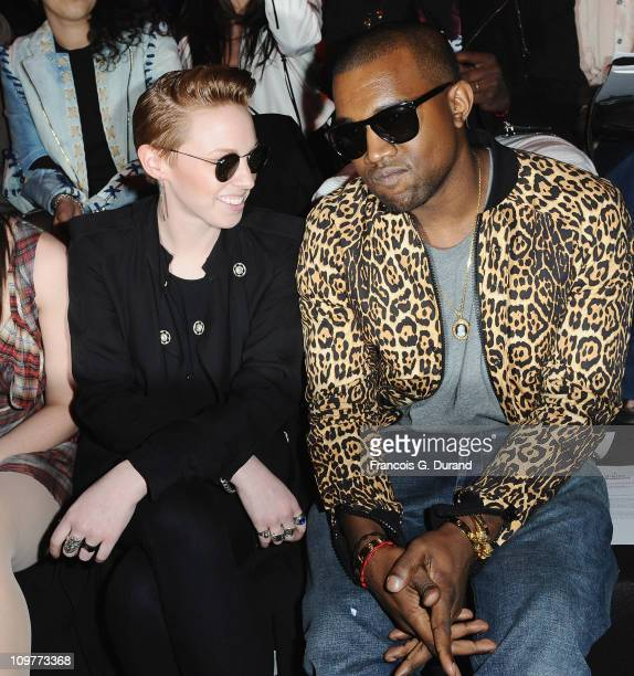 Elly Jackson of La Roux and Kanye West attend the Vivienne Westwood Ready to Wear Autumn/Winter 2011/2012 show during Paris Fashion Week at Pavillon...