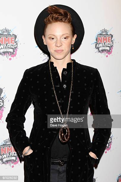 Elly Jackson of La Roux arrives at the Shockwaves NME Awards 2010 held at Brixton Academy on February 24 2010 in London England