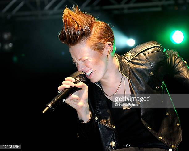 Elly Jackson of La Roux performs at the launch of Nissan Juke at Manchester Piccadilly Gardens on September 24 2010 in Manchester England