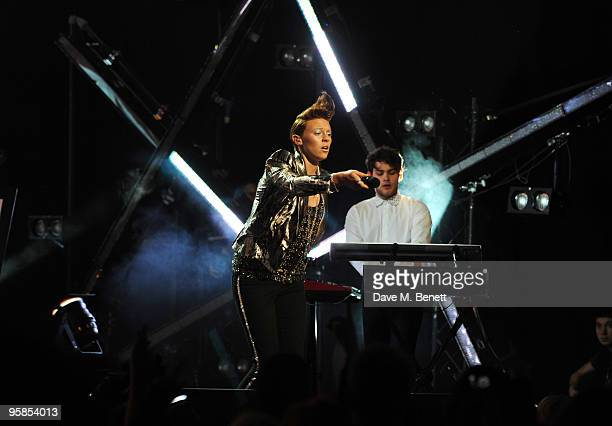 Elly Jackson of La Roux performs on stage during the The Brit Awards 2010 Shortlist Announcement at Indigo2 at O2 Arena on January 18 2010 in London...
