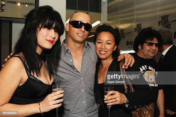 Elly May Barnes Mark Lizotte and Jep Lizotte pose during the official launch of `My First Gig With Jimmy Barnes` at Studio 24 on March 25 2009 in...