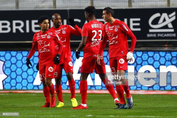 Ellyes of Montpellier and DOLLY Keagan of Montpelliercelebrate his goal during the Ligue 1 match between Amiens SC and Montpellier Herault SC at...