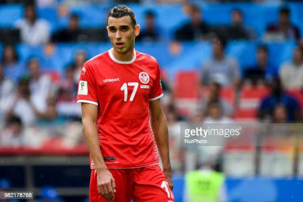 Ellyes Skhir of Tunisia during the 2018 FIFA World Cup Group G match between Belgium and Tunisia at Spartak Stadium in Moscow Russia on June 23 2018