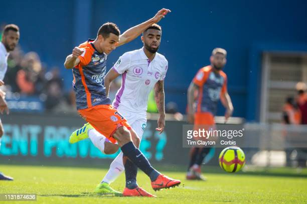 Ellyes Skhiri of Montpellier defended by Tristan Dingome of Stade de Reims during the Montpellier Vs Stade de Reims French Ligue 1 regular season...